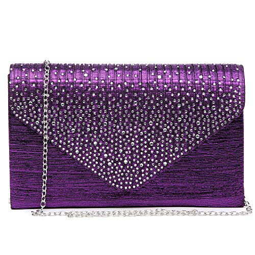 Dasein Ladies Frosted Satin Evening Clutch Purse Bag Crossbody Handbags Party Prom Wedding Envelope (Purple)