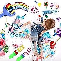 wuudi Confezione di pennelli per Bambini, Kit di Spugna per Pittura con apprendimento precoce con Grembiule Impermeabile a Manica Lunga, Kit di Disegno per 56 Pezzi #6