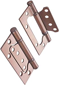 Yinpecly Non-Mortise Door Hinges Ball Bearing Iron Mobile Home Door Hinges for Wooden Doors Cabinets Red Copper Tone 2pcs
