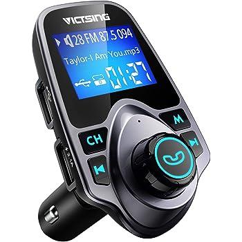 VicTsing–Transmisor FM, Kit de Coche Bluetooth Transmisor FM Radio Adaptador con 5V 2.1A USB Cargador de Coche Reproductor de mp3Apoyo TF Tarjeta USB Flash Drive