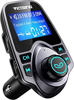 """VicTsing Bluetooth FM Transmitter for Car, Wireless Bluetooth Radio Transmitter Adapter Car Kit with Hand-Free Calling and 1.44"""" LCD Display, Music Player Support TF Card USB Flash Drive AUX Input/Out"""