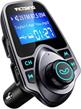 """VicTsing Bluetooth FM Transmitter for Car, Wireless Bluetooth Car Adapter Car Kit with Hand-Free Calling and 1.44"""" LCD Display, Music Player Support TF Card USB Flash Drive AUX Input/Out"""