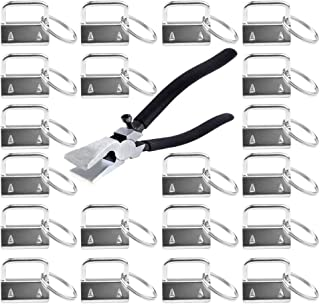 EWONICE Glass Running Pliers and 40 Pcs 1 Inch Fob Chain Wristlet Hardware with Key Ring (Key Fob with Pliers)