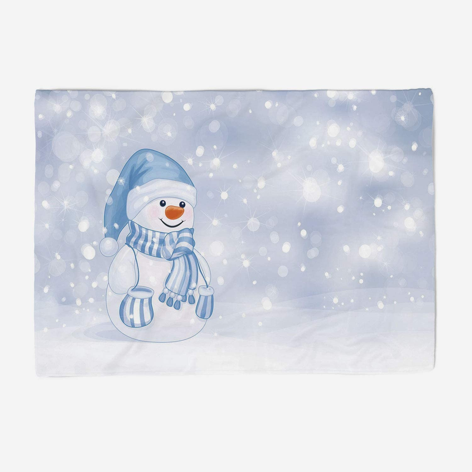 YOLIYANA Microfiber Throw Blanket Set Perfect for Couch Sofa or Bed 49x39 inches Winter,Kids Toddler Design Happy Snowman Cartoon Style Figure Merry Christmas Theme Decorative