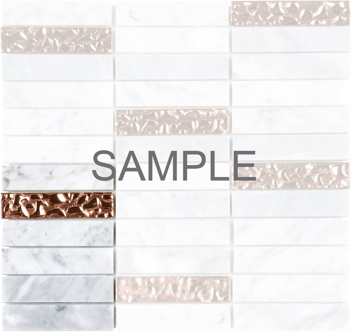 Rose Gold Glass Inserted Blend Stacked Pattern Backsplash Modket TDH142MO White Carrara Marble Stone Mosaic Tile