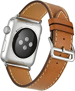 Apple Watch Band Wollpo® 本革 交換バンド 高級 レザー ビジネス用 腕時計ベルト Real Leather Watchband for Apple WatchApple Watch 本革 交換バンド 高級 レザー ビジネス用 腕時計ベルト Real Leather Watchband for Apple Watch (42mm, 褐色)