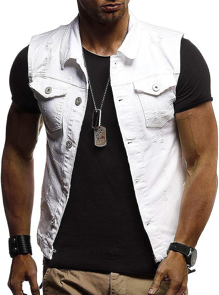 chouyatou Men's Distressed Wash Button Front Sleeveless Moto Jean Vest Jacket