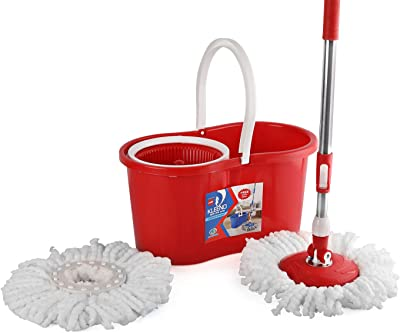 Cello Kleeno Compacto Spin Mop with 2 refill Red