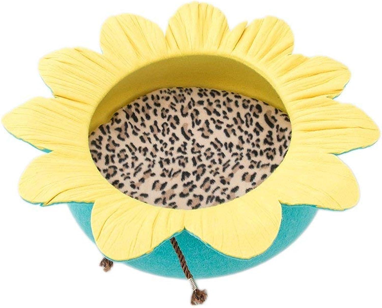 Pet Bed Flounced Cat Nest Winter Warm Cat Sleeping Bag Cat Kennel Pet Nest Mat Pet Cat Supplies Four Seasons Universal (color   Yellow Green)