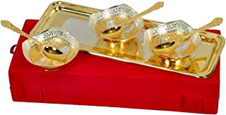 Indian Craftvilla Handmade Brass Gold And Silver Plated Bowls Set Of 7 Pieces Can Be Use As Kitchenware And Holi,Diwali Gifting Purpose.
