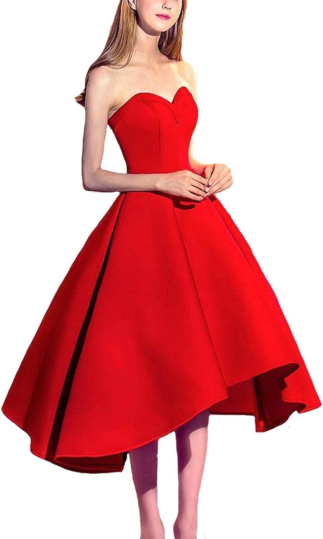 Dearta Women's ALine Sweetheart Asymmetrical Satin Corset Back Homecoming Dress