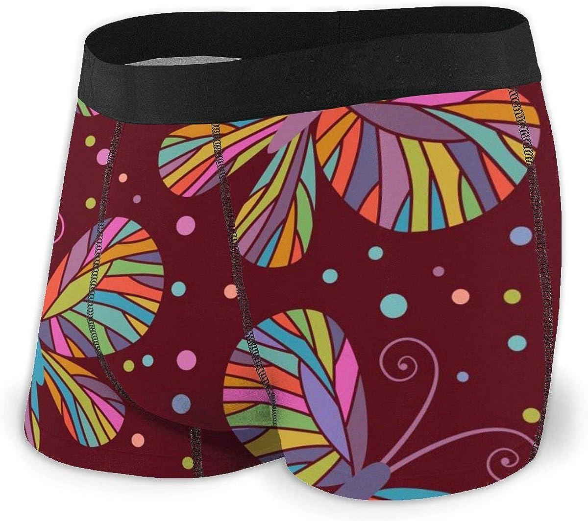 Randolph Wordsworth Mens Boxer Briefs Burgundy Color Butterflies Low Rise Trunks Breathable Bikini Underpants Boys Underwear