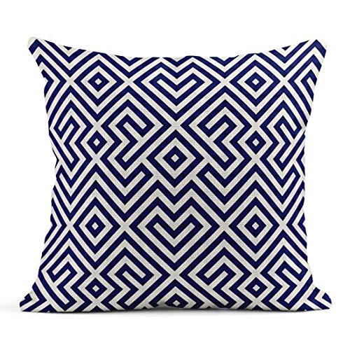 Dekokissen Muster Blau Fliesen Geometrische Chevron Diagonal Grid Herringbone Leinen Kissen Home Dekorative Kissen
