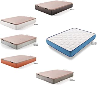 HOGAR24 ES Cama Completa - Colchón Viscoelástico Viscorelax + Canape Abatible de Madera Color Blanco, 105x190 cm