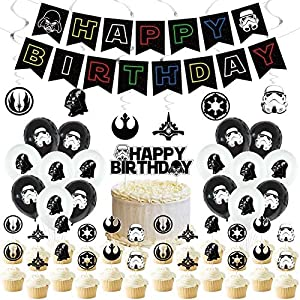 Space War Birthday Party Supplies,Space War Decorations include Cake Topper,Cupcake Toppers, Banner,balloons,spiral