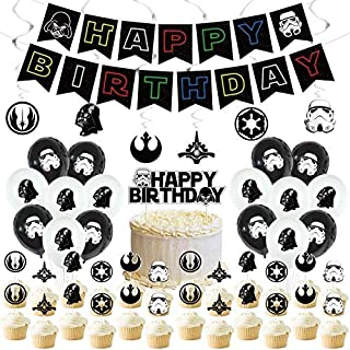 Star Wars Birthday Party Supplies,Star Wars Decorations include Cake Topper,Cupcake Toppers, Banner,balloons,spiral