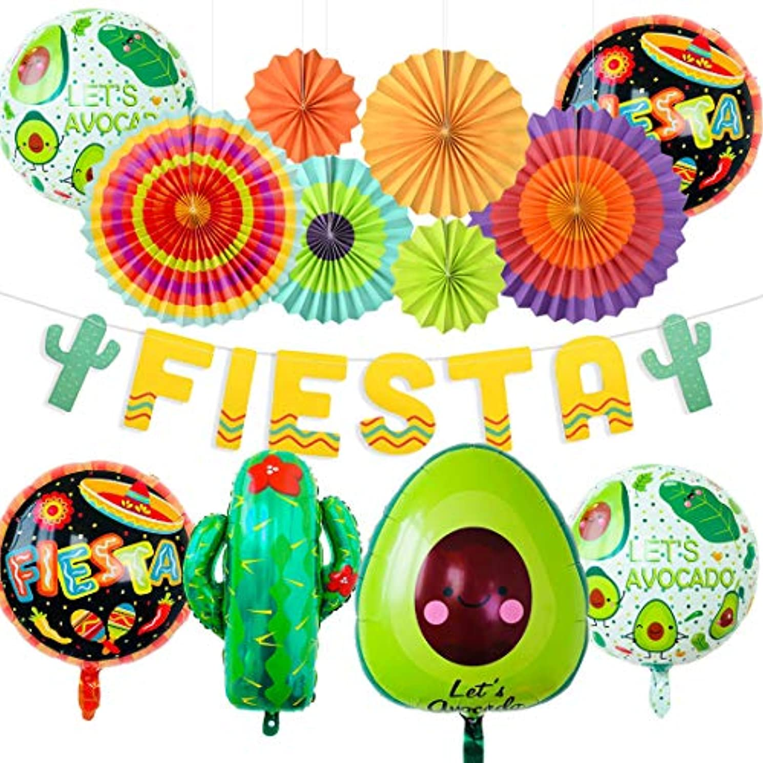 JOYMEMO Fiesta Party Decorations Pack Cinco De Mayo Decorations Hanging Paper Fans Banner Cactus and Avocado Balloons for Mexican Party Supplies