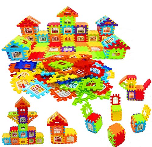 SVS ONLINE Building Blocks for Kids, Big Size House Building Blocks with Windows, Block Game for Kids,Boys,Children (72 Pcs) JVM Plastic Fish Catching Game with 26 Pieces of Fishes, (Blocks 72)