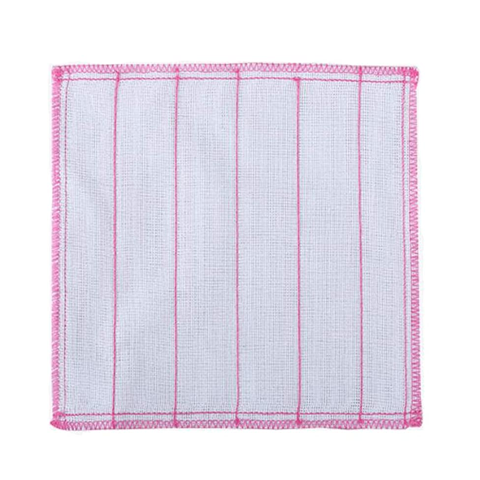 6PCS 8-Layer Cotton Yarn Cleaning Bowl Cloths Scouring Pad Non-stick Oil Rag Absorben Water Cloth Kitchen Dish Cloth Wipe the Wok Household Washing Handkerchief Color White and Pink