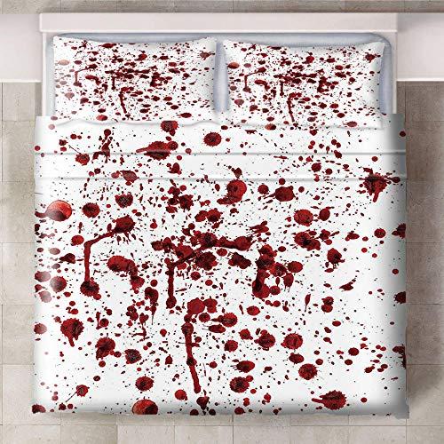 Teqoasiy - Ropa De Cama Infantil - Impresión Digital 3D Rojo Sangre Horror 229x229cm 3 Piezas Suave Microfibra Juego De Funda Nórdica - con 2 Fundas De Almohada - Antialérgico Funda De Edredón