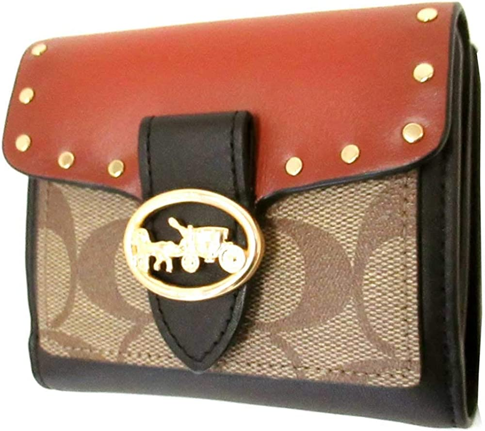 Coach Special price for a limited time Women's Georgie Small Wallet Canva New mail order Signature Colorblock In