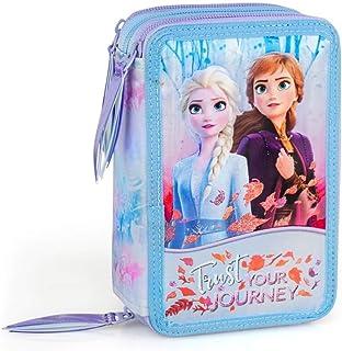Tombolino Astuccio scuola portamatite Frozen Elsa e Anna,glitter portacolori