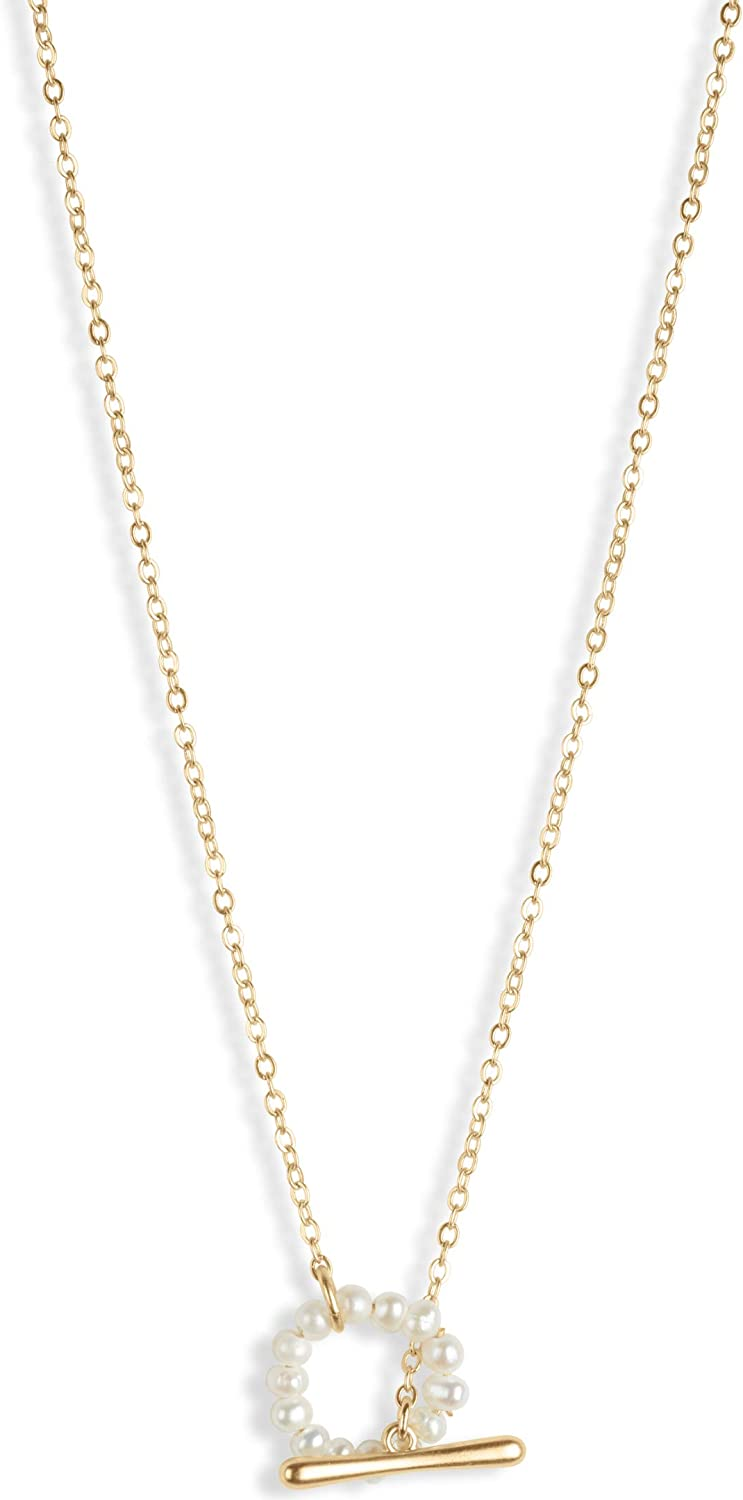 Lucky Brand Pearl Loop Y Necklace, Gold