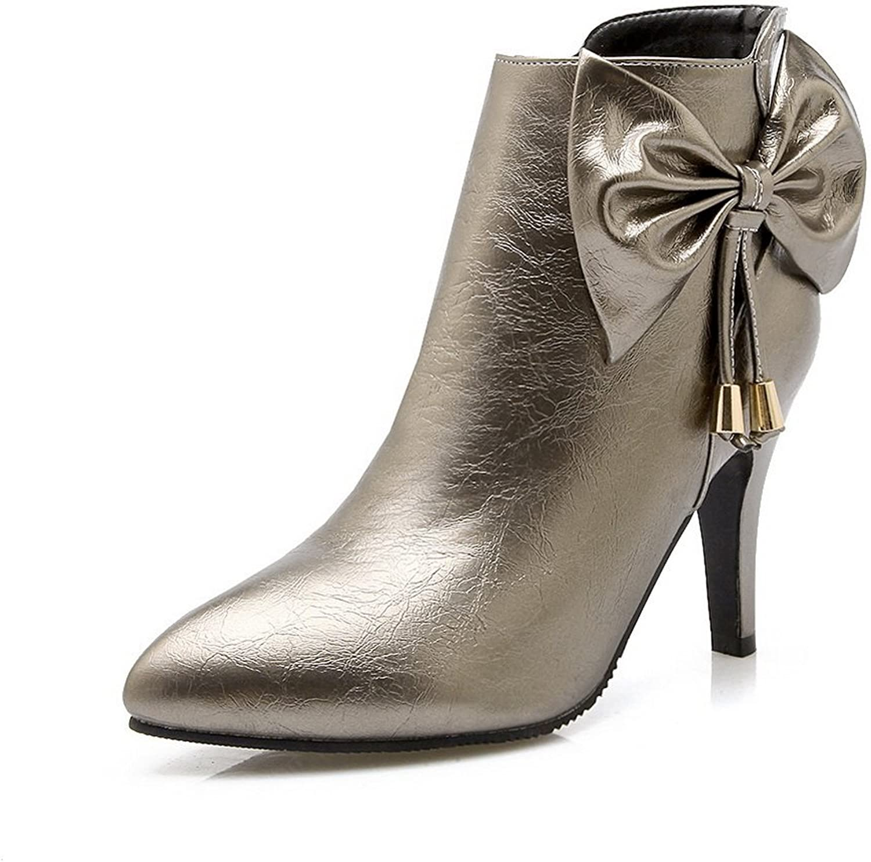 BalaMasa Girls Spun gold Bowknot Metal Ornament Patent Leather Boots