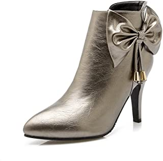 AdeeSu Womens Color Matching Thick Bottom Heel Solid Imitated Leather Boots