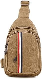 Sports Outdoor Canvas Messenger Shoulder Bag, Men Multipurpose Chest Bag Leisure Crossbody Sling Bag Fashion Outdoor Travel Hiking (Size: 28 * 8 * 17CM) (Color : Khaki)