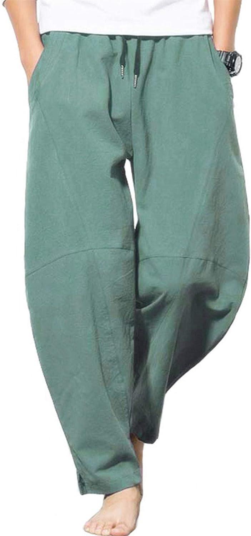 AITFINEISM Mens Linen Loose Casual Lightweight Elastic Waist Summer Pants