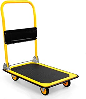 MOUNT-IT! Platform Truck | Push Cart Dolly [330lb Weight Capacity] Foldable Flatbed with Swivel Wheels, Rolling Trolley Ca...