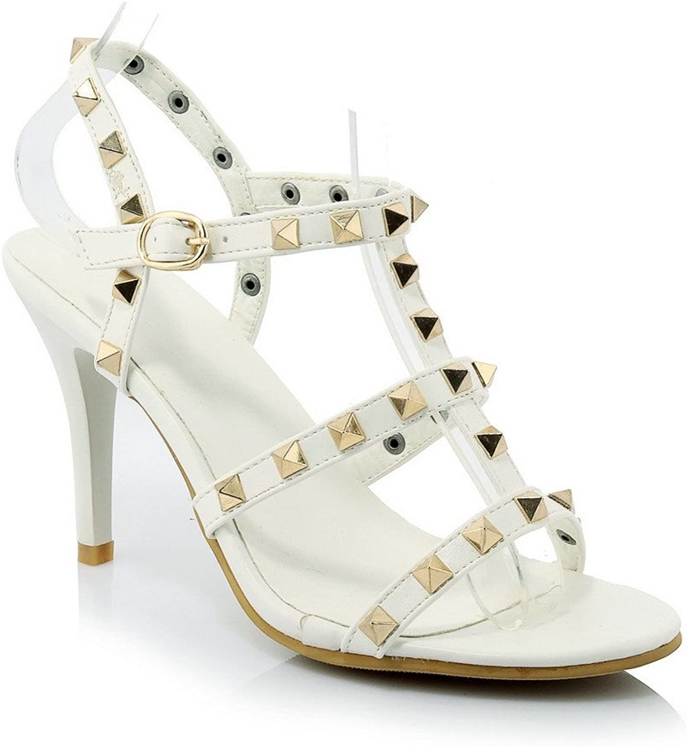 AmoonyFashion Women's Open Toe Buckle PU Solid Spikes Stilettos Sandals