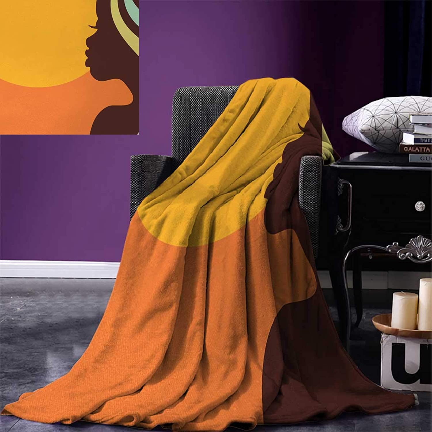 Anniutwo African Woman Travel Throw Blanket Teenage Girl Pretty Face Profile Abstract Sunset Calm Evening Velvet Plush Throw Blanket 60 x50  orange Salmon Dark Brown