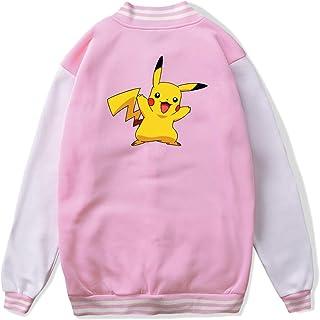 VJJ AIDEAR Pokemon Go Baseball Uniform Jacket Sport Coat Girl Long Sleeve Hoodie Hooded Sweatshirt Black