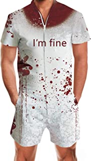 Enlifety Men Women I'm Fine Hoodies Tank Top Shirts Rompers Tracksuits Pants Blood Printed Halloween Cosplay Costumes