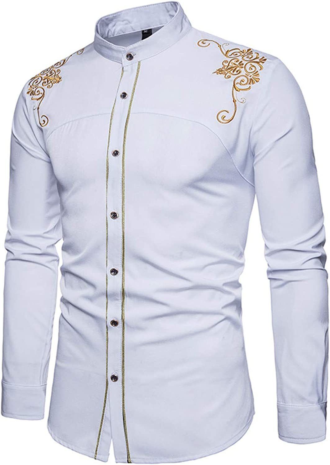 84357441f68 Hsumonre Men Embroidery Embroidery Embroidery Dress Shirt Long Sleeve Slim  Fit Casual Solid color Male Button Down Mandarin Collar Shirts a50c87