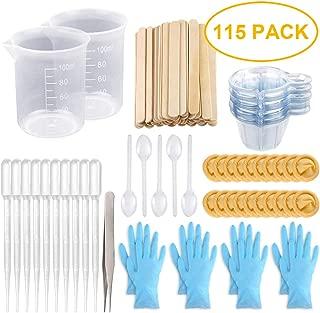 Tazas de mezcla Tazas de resina epoxi con palos Kit-2pcs Tazas de medición de 100 ml, tazas desechables de 70 piezas y palos de mezcla, pipetas, pinzas y guantes desechables