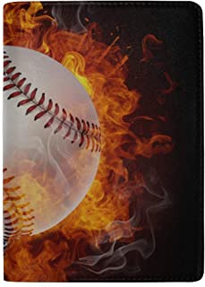 Baseball Typography Emblems, Sports Logos, Blocking Print Passport Holder Cover Case Travel Luggage Passport Wallet Card Holder Made with Leather for Men Women Kids Family