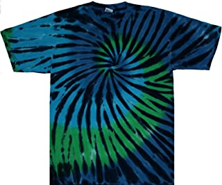 Tie Dyed Shop Blue Green Stained Glass Spiral Tie Dye T Shirt; Small to 5X