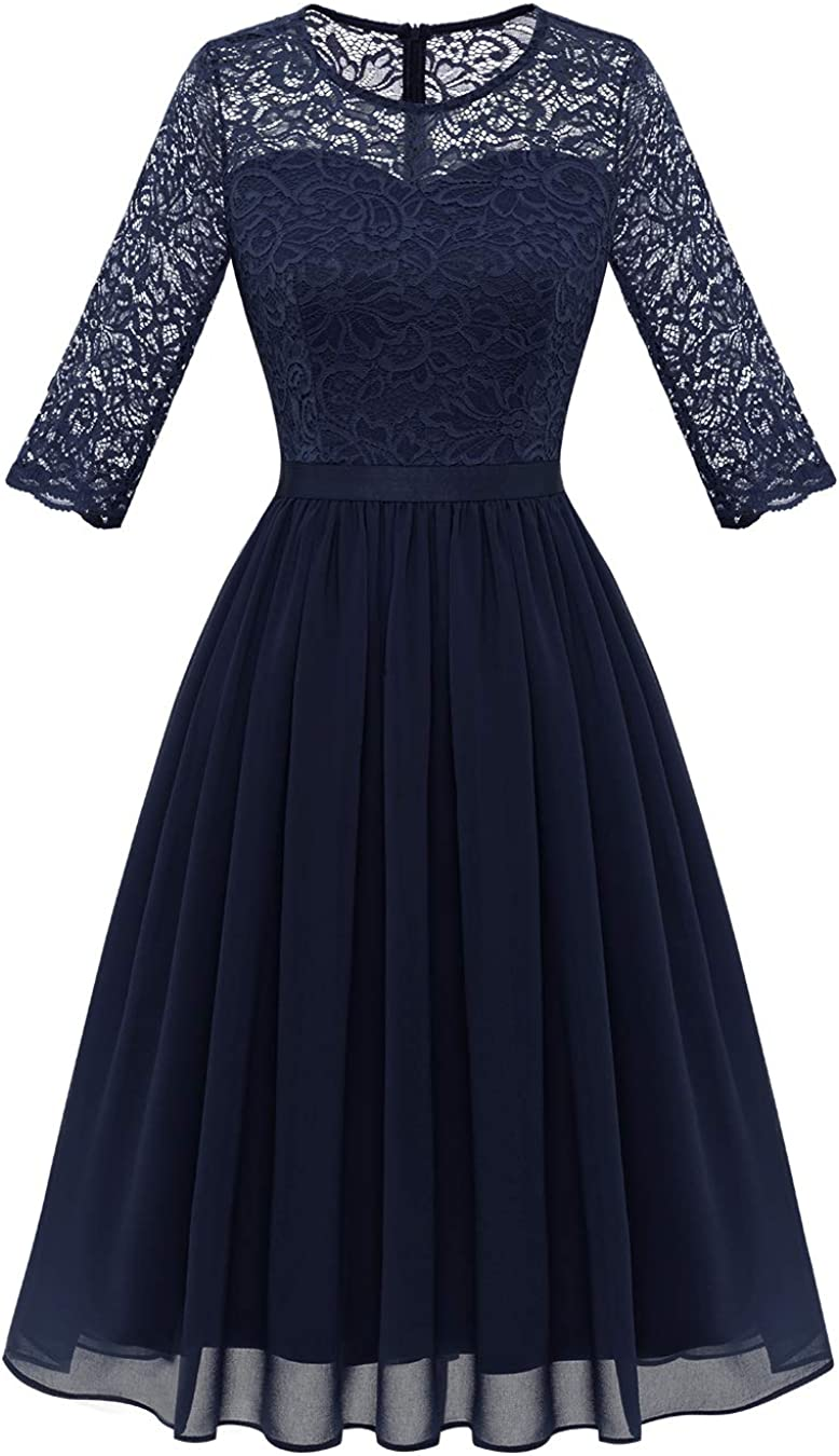 BeryLove Women's Vintage Floral Lace Long Sleeve Scoop Neck Cocktail Party Swing Dress