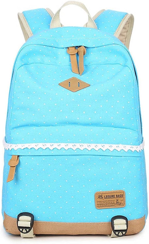 Canvas Backpack Feminine Lace Dot Backpacks for Teenage Girls School Backpack Female Teenagers Women's Backpacks Light bluee 30x43x13cm