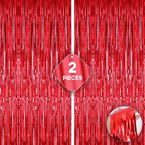 Xtra Cortina de flecos de papel de aluminio rojo – 3.2 x 10 pies | Paquete de 2 | Cortinas metálicas rojas para fiestas de cumpleaños | telón de fondo de aluminio para el día de San Valentín, despedidas de soltera, víspera de Año Nuevo
