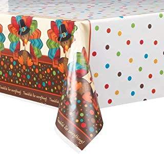 Cute Turkey Thanksgiving Plastic Tablecloth, 84