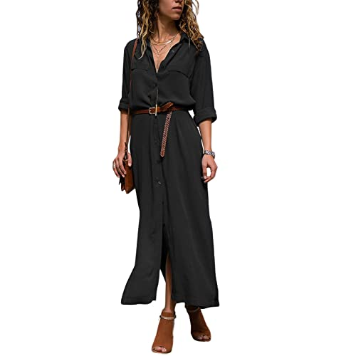 d7e80b8fb8ff Dokotoo Womens Long Sleeve Floral Print Maxi Long Dress with Belt