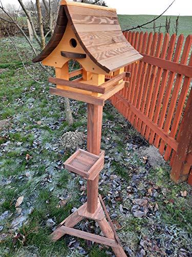 Vogelhaus mit Nistkasten und Ständer aus Holz, Futterhaus, Futterstation für Wildvögel, Vogelfutterhaus zum Stellen für den Garten oder Balkon 6 Farben (Kiefer + Rosenholz)