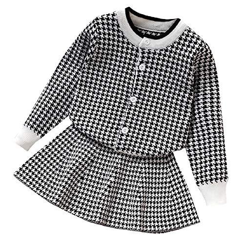 LILIZHAN Winter Warm Gebreide Pak Lange mouwen Sweater Leuke Plaid Tops+Mode Vest Rok Ensemble Bebes Fille