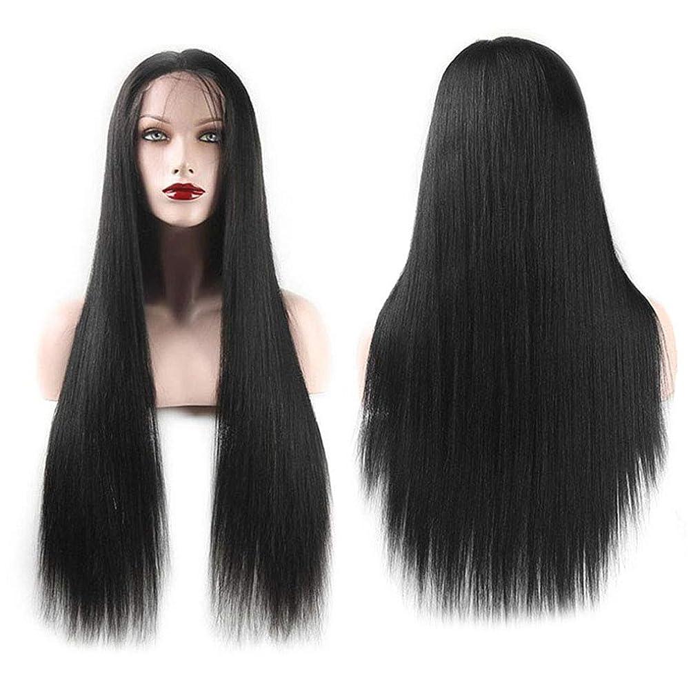 ドリル距離排他的女性ファッションロングストレートヘアウィッグ自然に見える絶妙な弾性ネットウィッグカバー(LS-001ブラック)