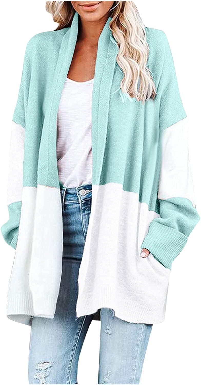 FORUU Cardigan Sweaters for Women 2021,Cute Open Front Cardigans Batwing Cardigan Striped Casual Lightweight Knit Coat