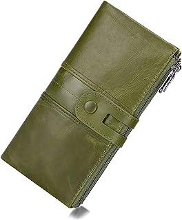 Women's RFID Blocking Genuine Leather Wallet, Bifold Long Clutch Wallet Money Clips Ladies Card Holder Purse, Green-Genuin...